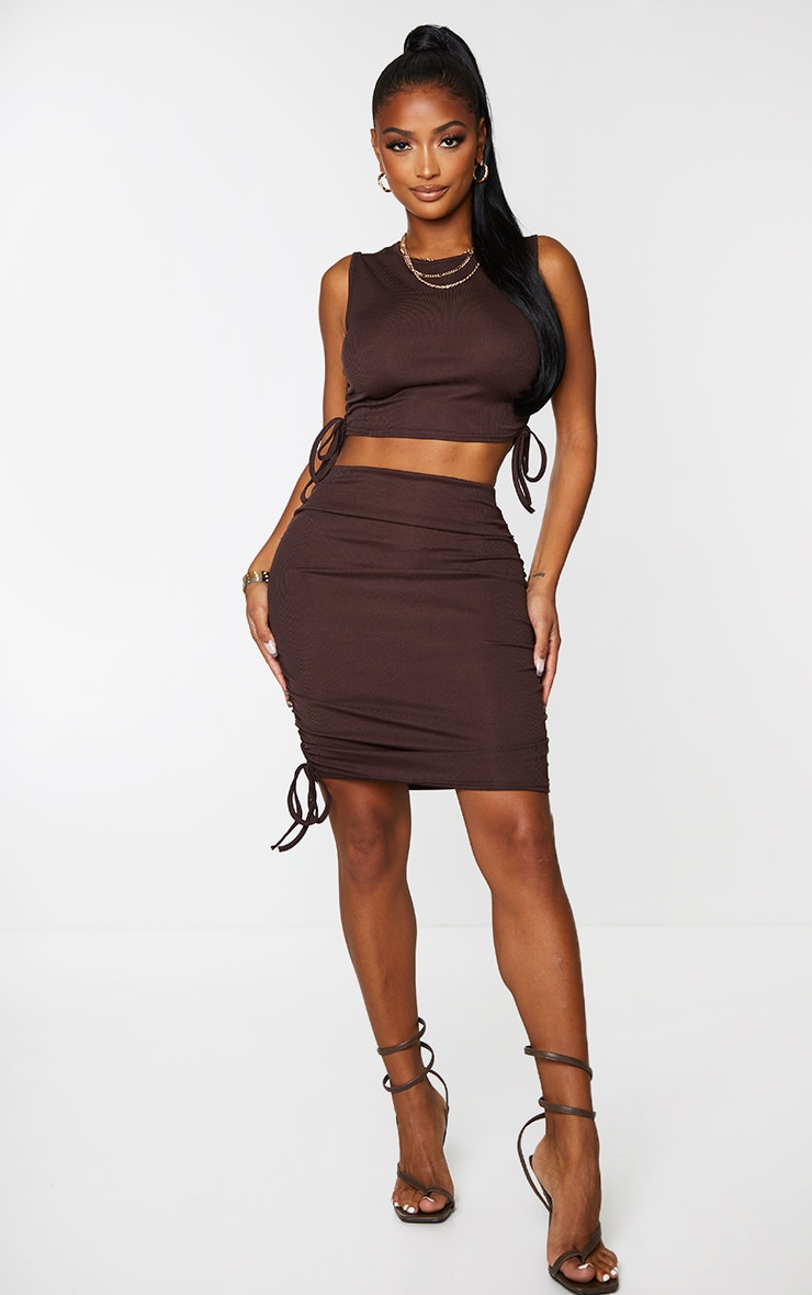 Shape Chocolate Brown Rib Ruched Side Crop Top 3