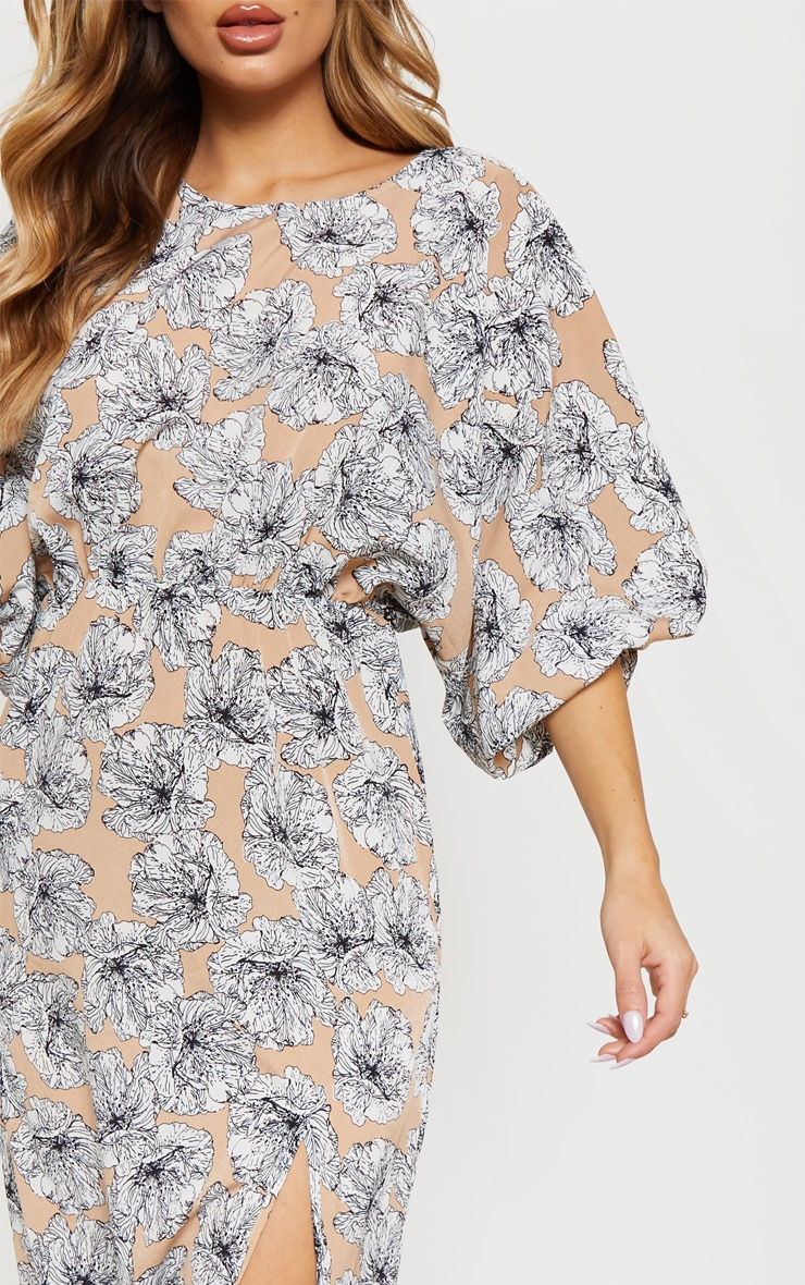 Nude Floral Print Batwing Sleeve Split Leg Maxi Dress 5