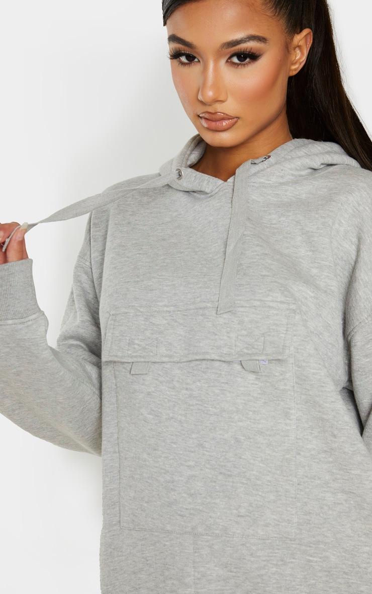 Grey Oversized Pocket Hoodie 5