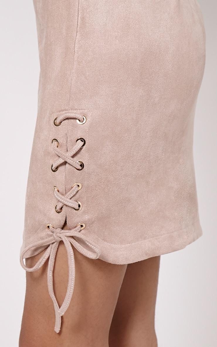 Brooke Beige Lace Up Detail Suede Dress 5