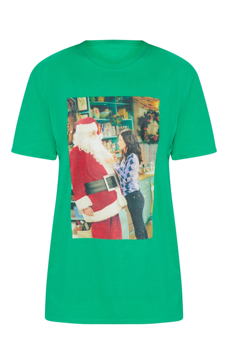 Green Friends Santa Printed T shirt 3