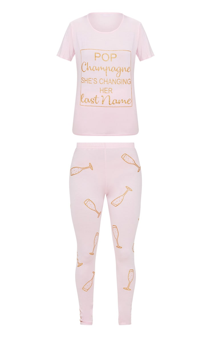 Pale Pink Bridal Party Pop Champagne Long PJ Set 3