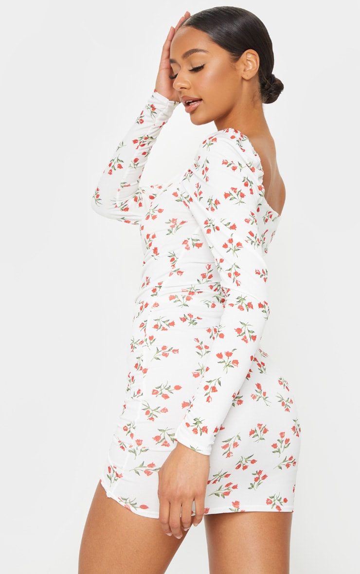 Cream Floral Print Ruched Front Long Sleeve Bodycon Dress 2