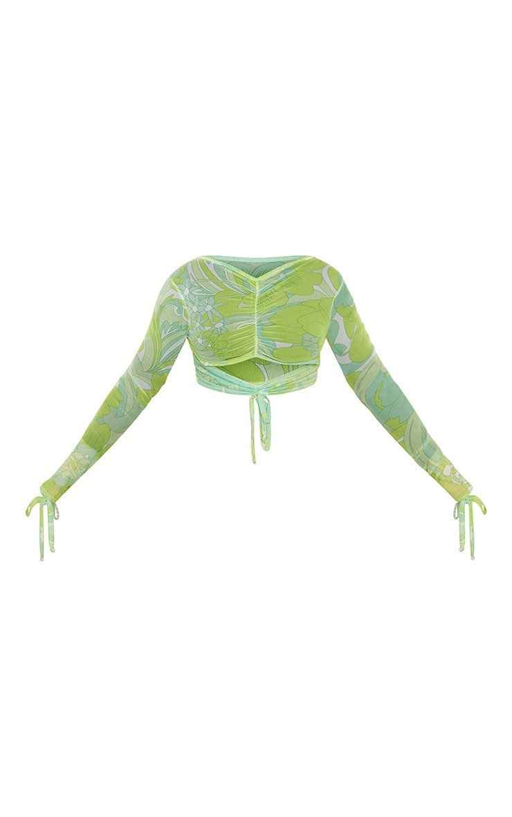 Lime Floral Print Mesh Ruched Cut Out Top 7