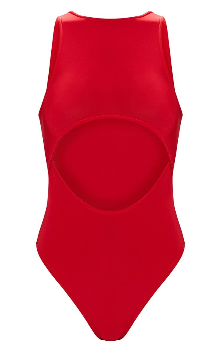 Body-string près du corps à découpes sous la poitrine rouge 3