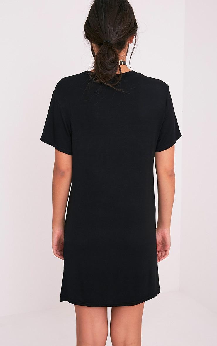 Girl Gang Gothic Black Print T-Shirt Dress  2