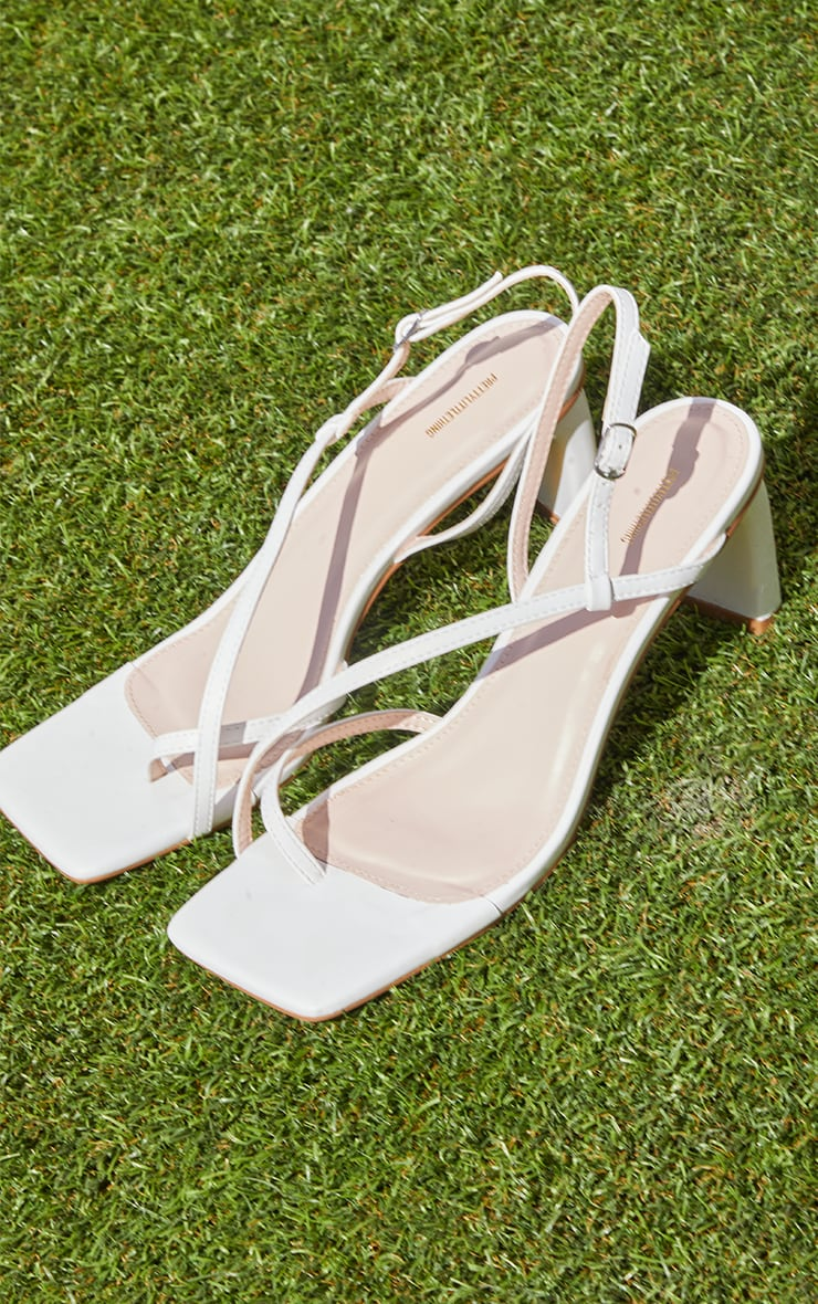 White PU Cross Over Toe Loop Low Heeled Sandals 4