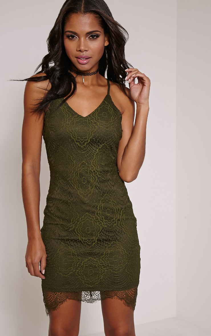 Luca Khaki Scalloped Lace Halterneck Bodycon Dress 2