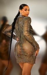 Black Diamante Mesh Bodycon Dress 3