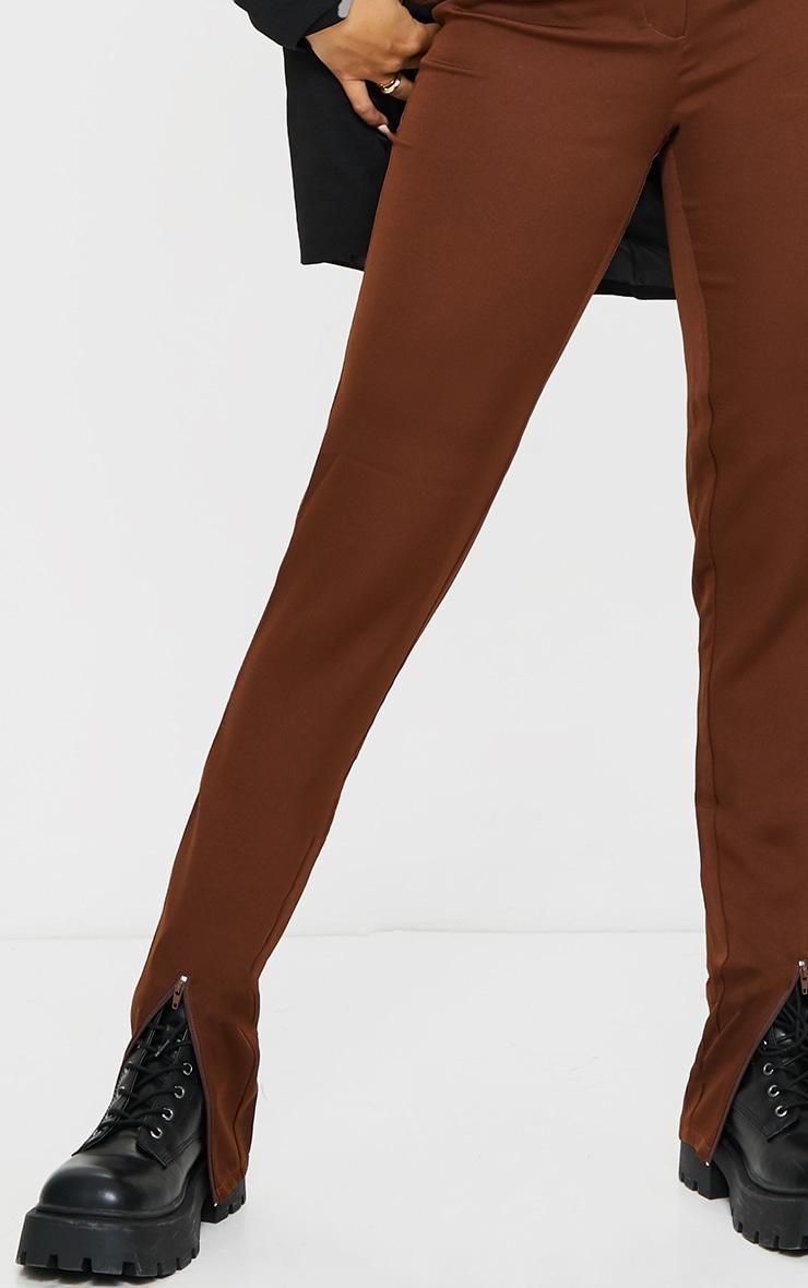 Chocolate Zip Hem Woven Skinny Trousers 4