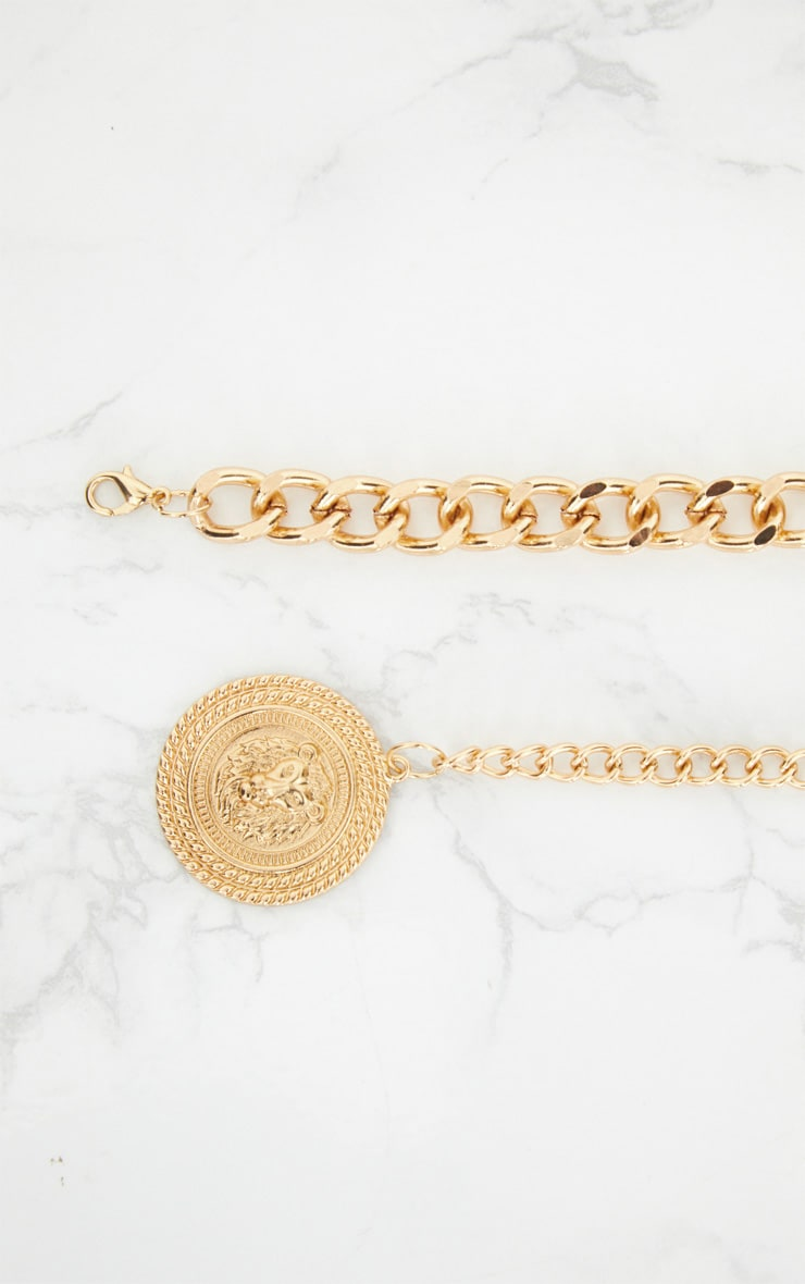 Gold Lion Pendant Drop Chain Belt 4