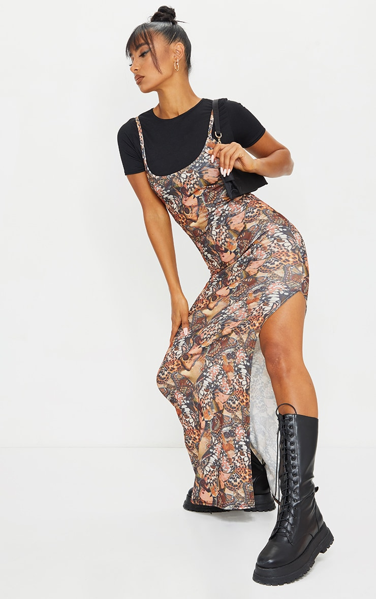 Nude 2 in 1 Butterfly Print Strappy Maxi Dress 3