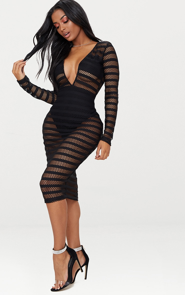 Shape  Black Sheer Plunge Midi Dress 1