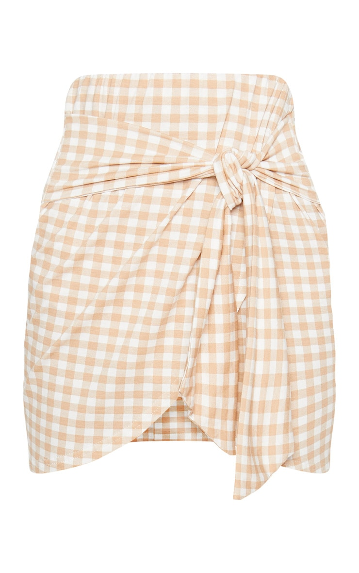Nude Gingham Tie Front Mini Skirt 3