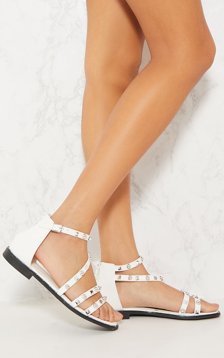 White Studded Strappy Flat Sandals 1