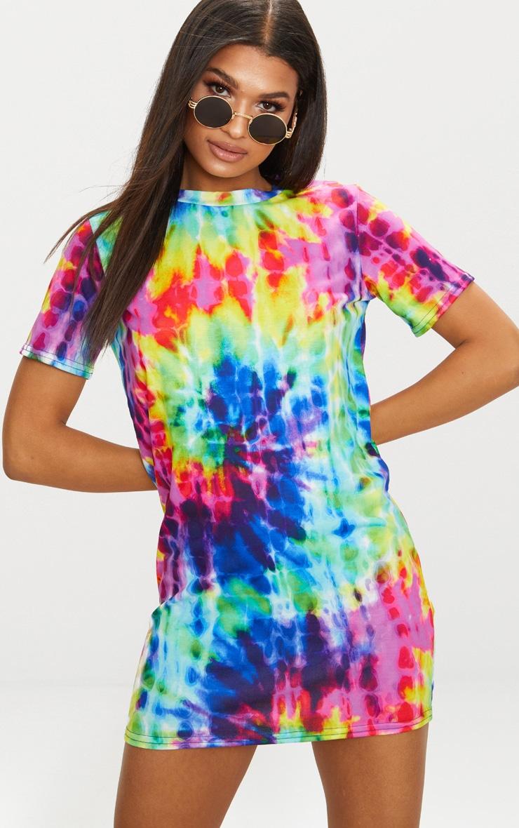 Multi Tie Dye Short Sleeve T Shirt Dress 4