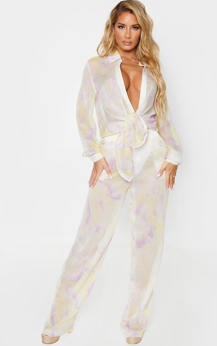 Lilac Tie Dye Wide Leg Beach Pants 1