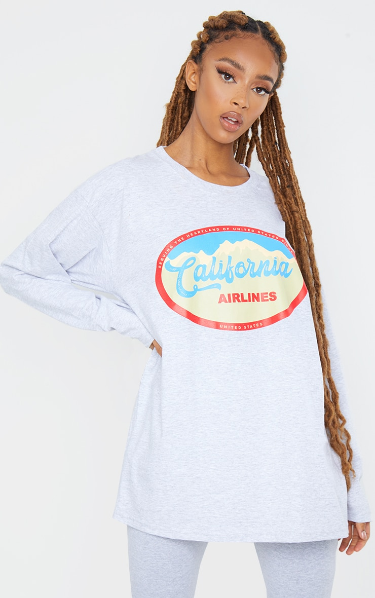 Grey California Airlines Printed Long Sleeve T Shirt 1