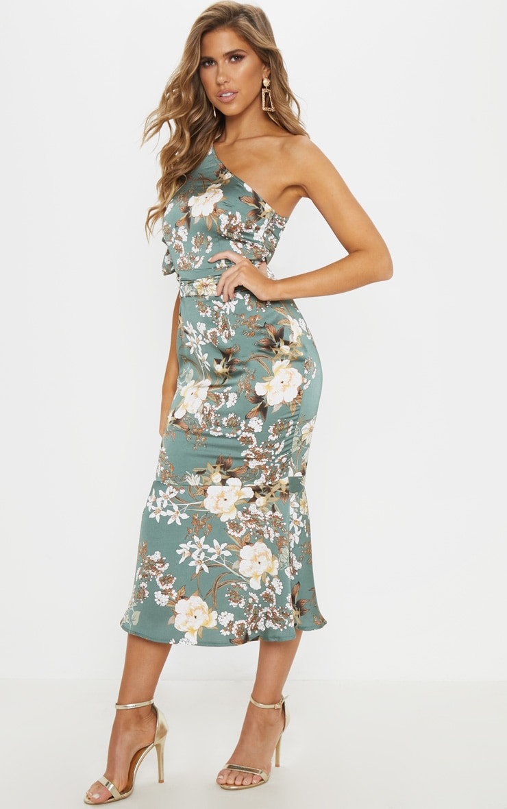 Sage Green Floral One Shoulder Fishtail Midi Dress 4