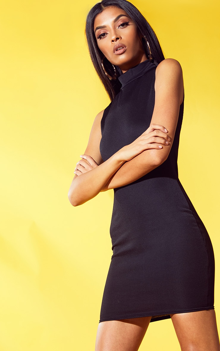 Black High Neck Sleeveless Bodycon Dress 1
