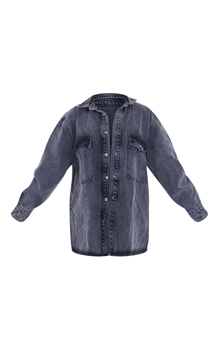 Petite Washed Black Oversized Denim Boyfriend Shirt 5