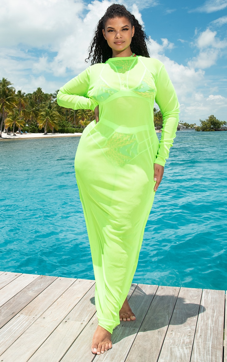 Plus Neon Lime Mesh Long Sleeve Maxi Dress 1