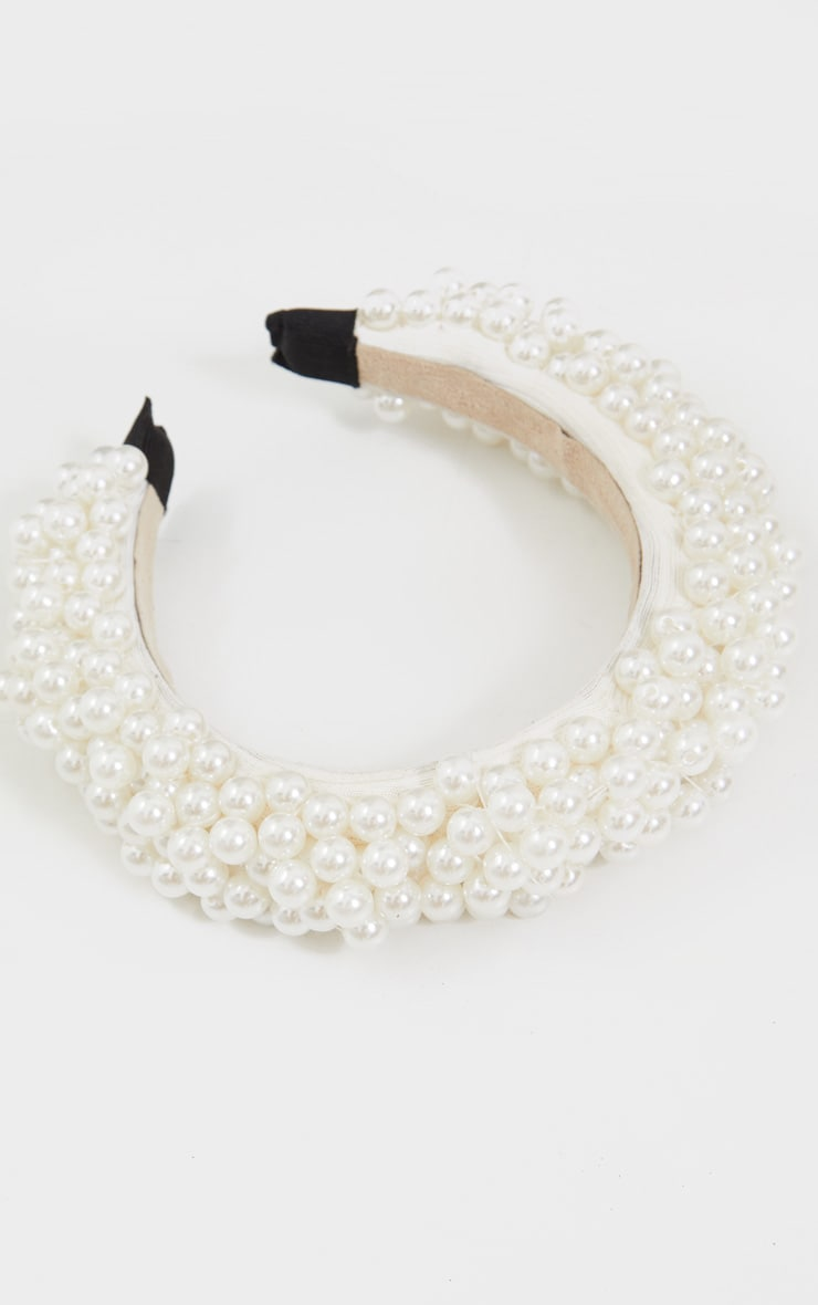 White Tiered Pearl Headband 2