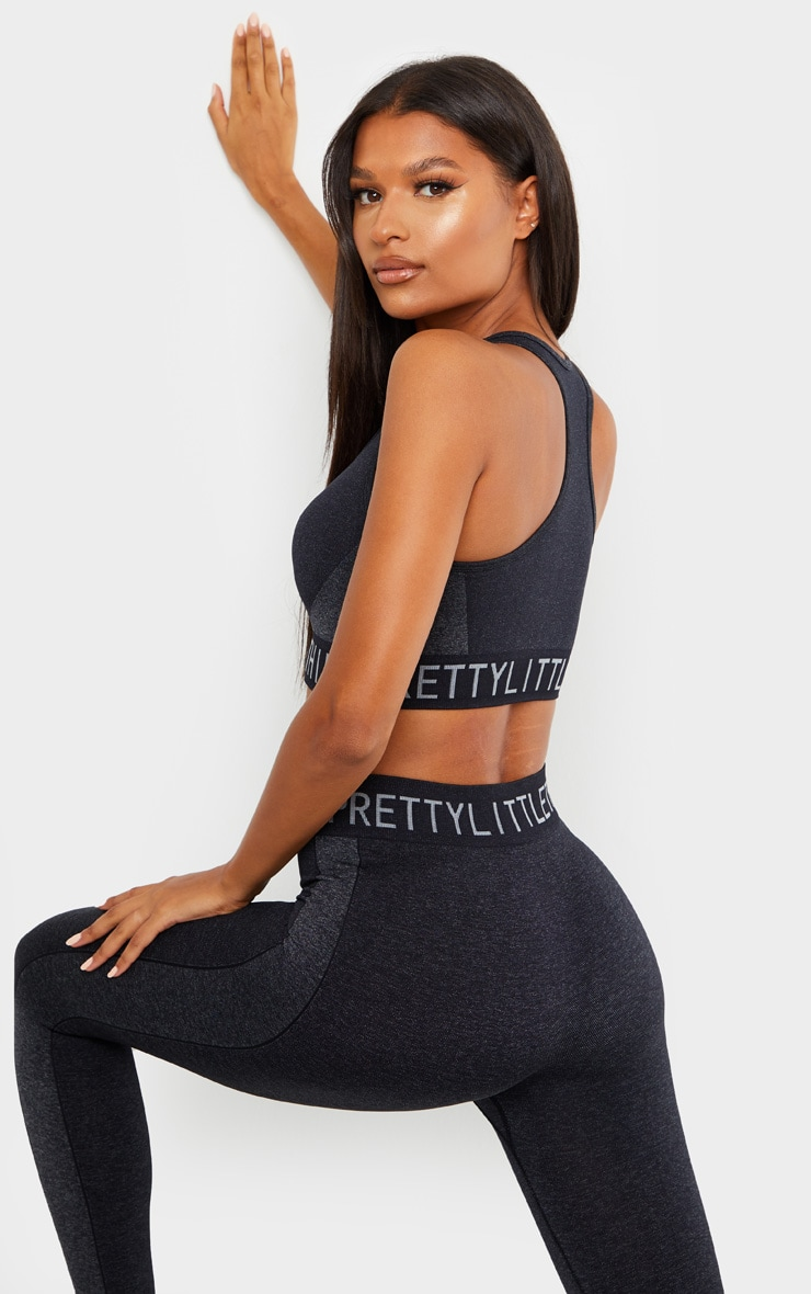 PRETTYLITTLETHING Black Seamless Sports Bra 2