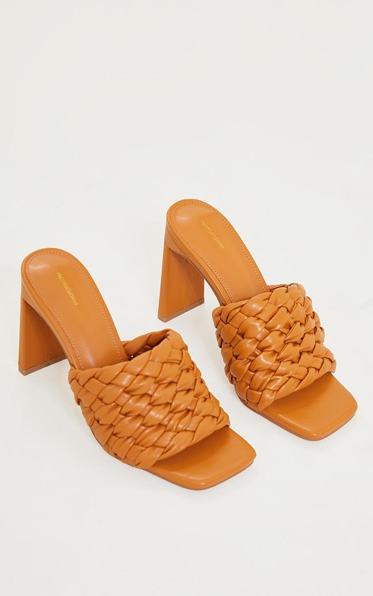 Tan Basket Weave Square Toe High Flat Block Heel Mules 3