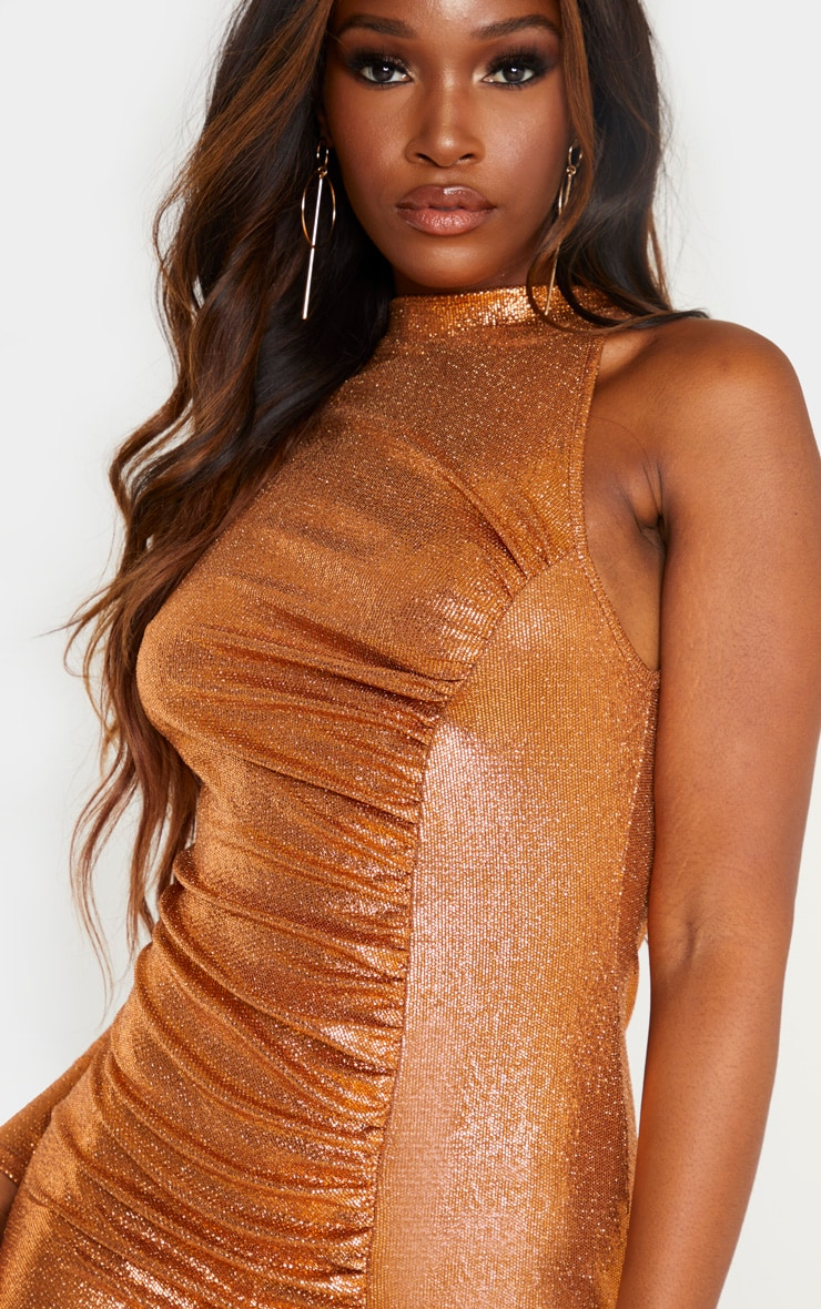 Rust Metallic Glitter High Neck Ruched One Shoulder Bodycon Dress 5
