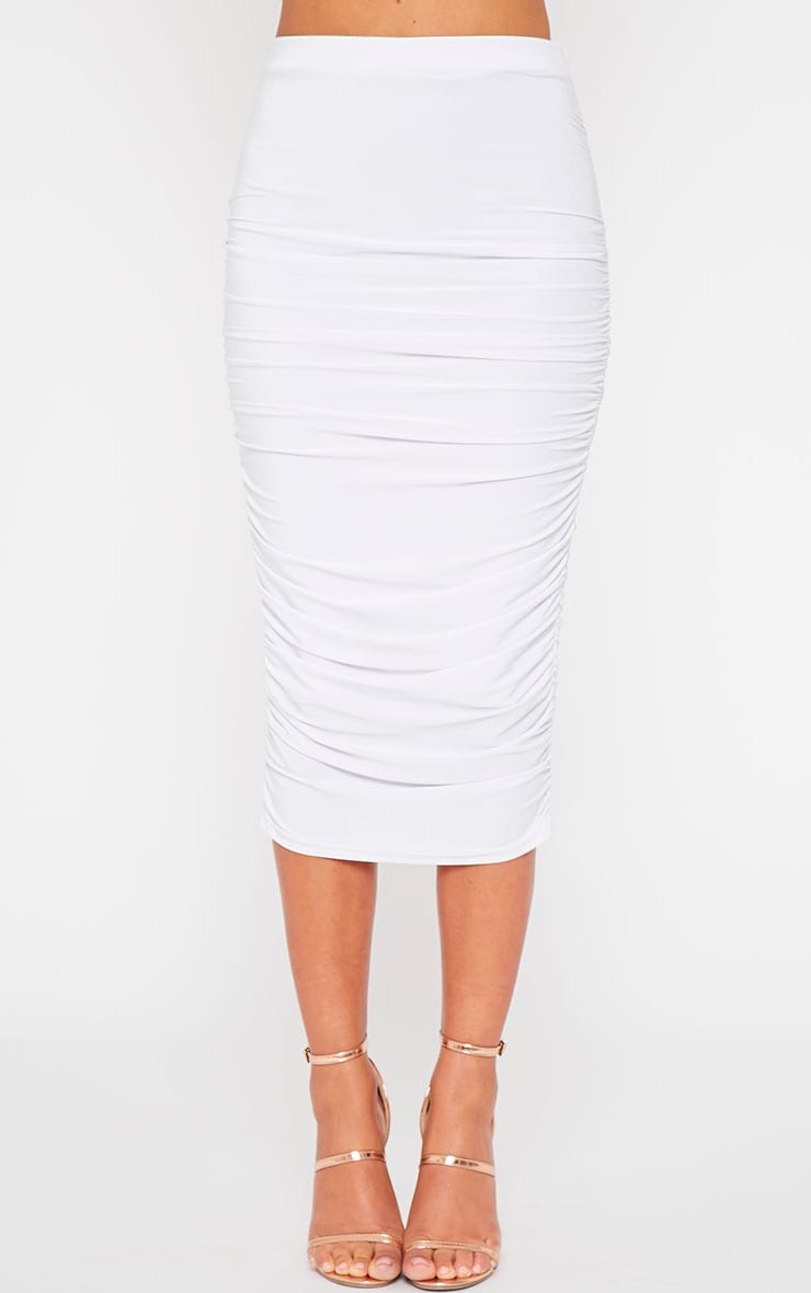 Saylor White Slinky Gathered Midi Skirt 3