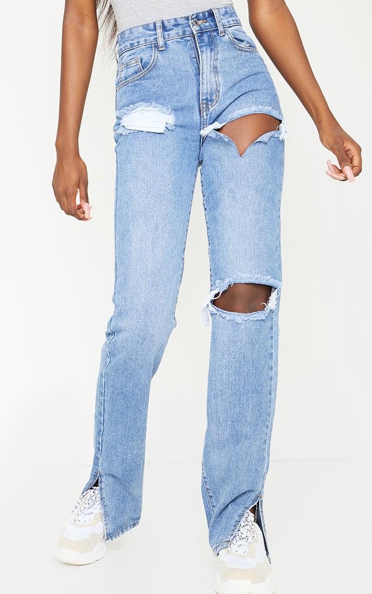 Tall - Jean bleu moyennement délavé fendu à doubles déchirures 2