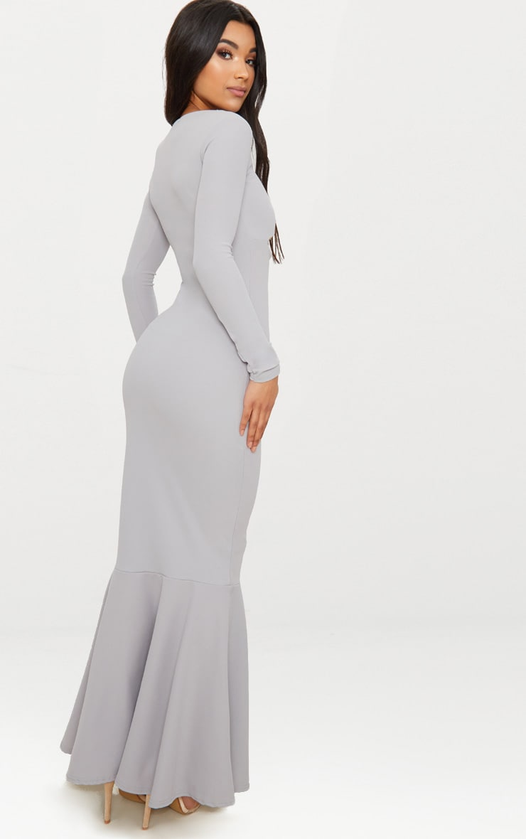 Ice Grey Cut Out Detail Long Sleeve Fishtail Maxi Dress 2