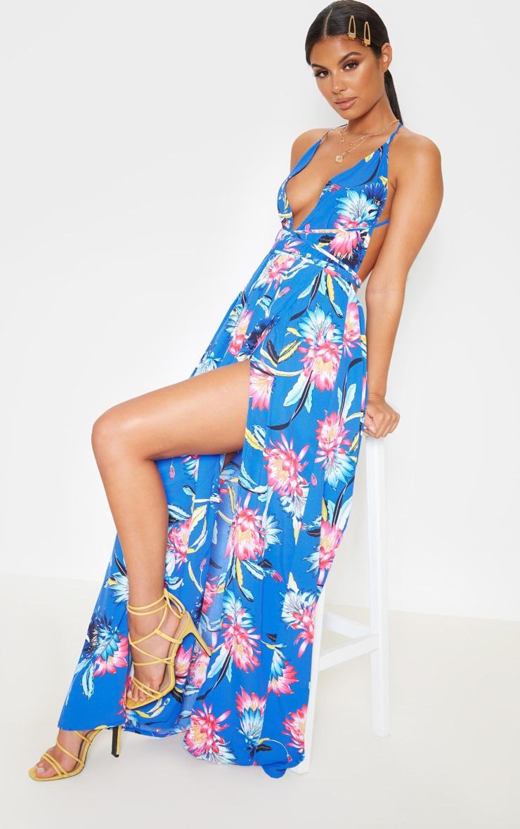 Cobalt Floral Print Chiffon Halterneck Maxi Dress 4