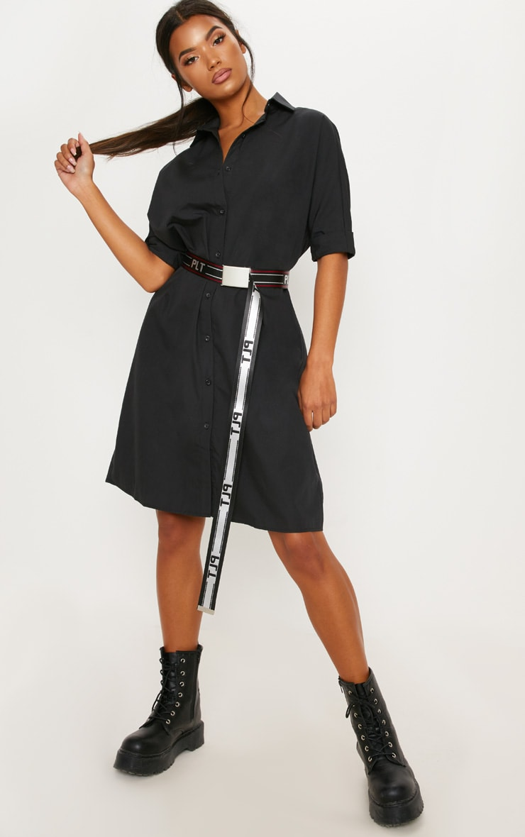 aa9aa9241905 Black Oversized Midi Shirt Dress image 1