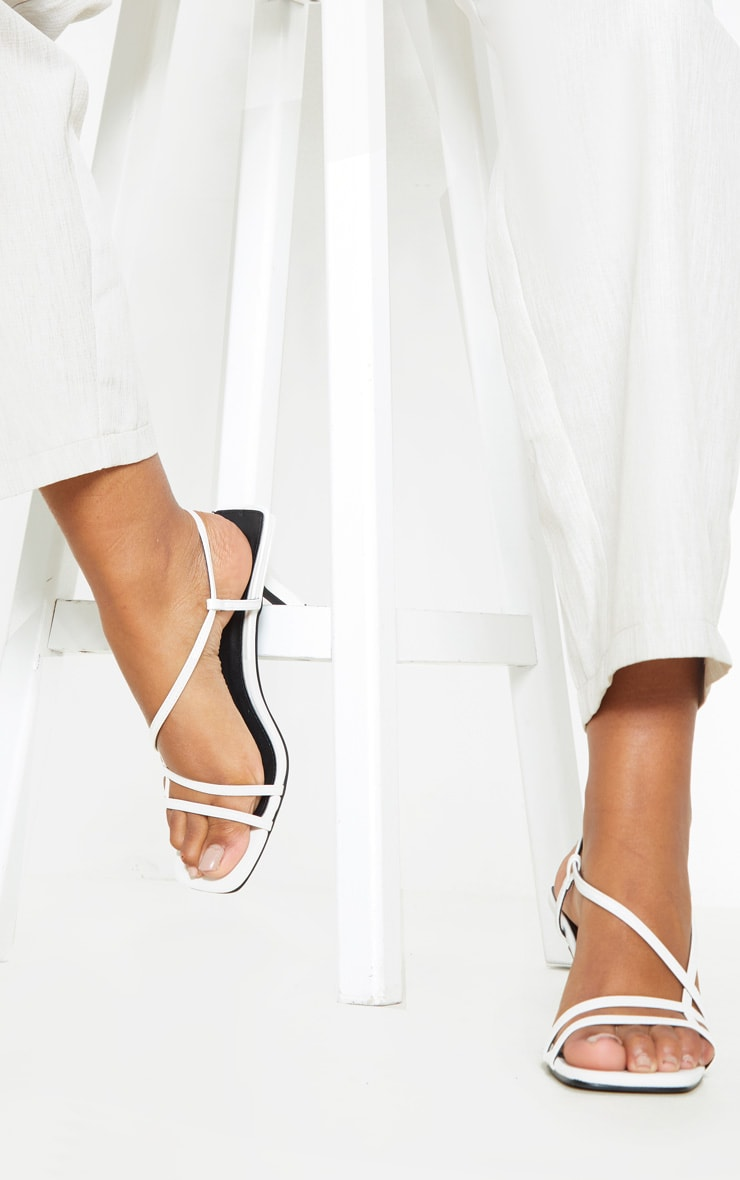 White Low Heel Strappy Sandal 2