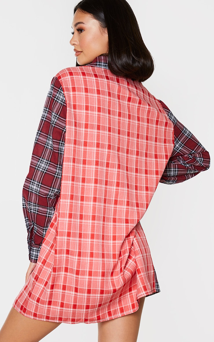 Red Two Tone Checked Shirt Dress 2