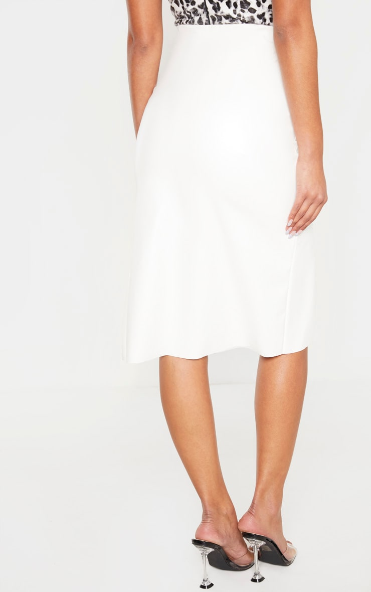 White Faux Leather Extreme Split Midi Skirt 4