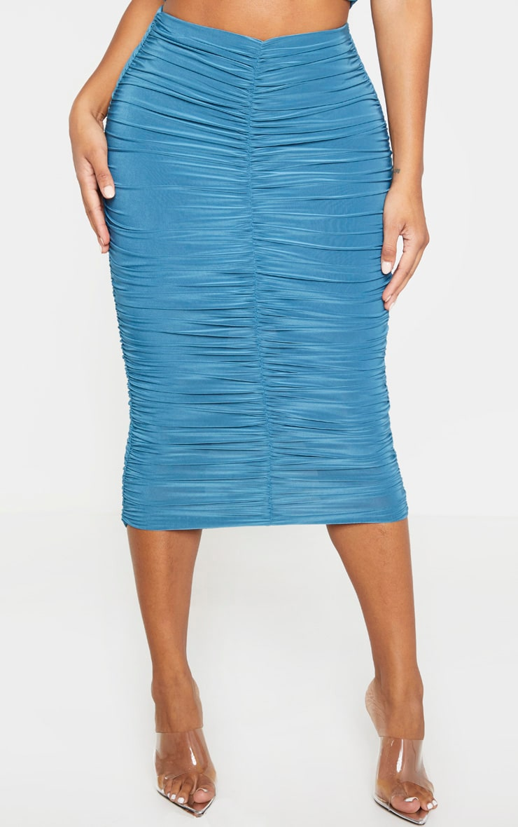 Shape Petrol Blue Slinky Ruched Midi Skirt 2