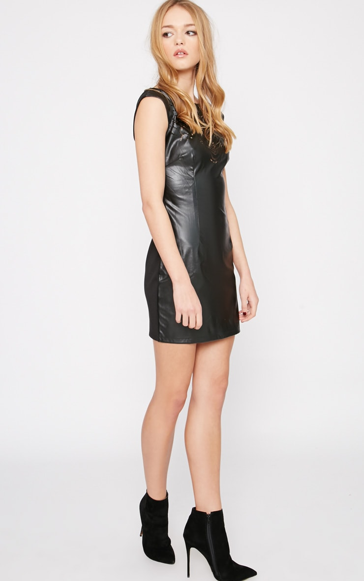 Kasa Black Leather Laser Cut Bodycon Mini Dress 3