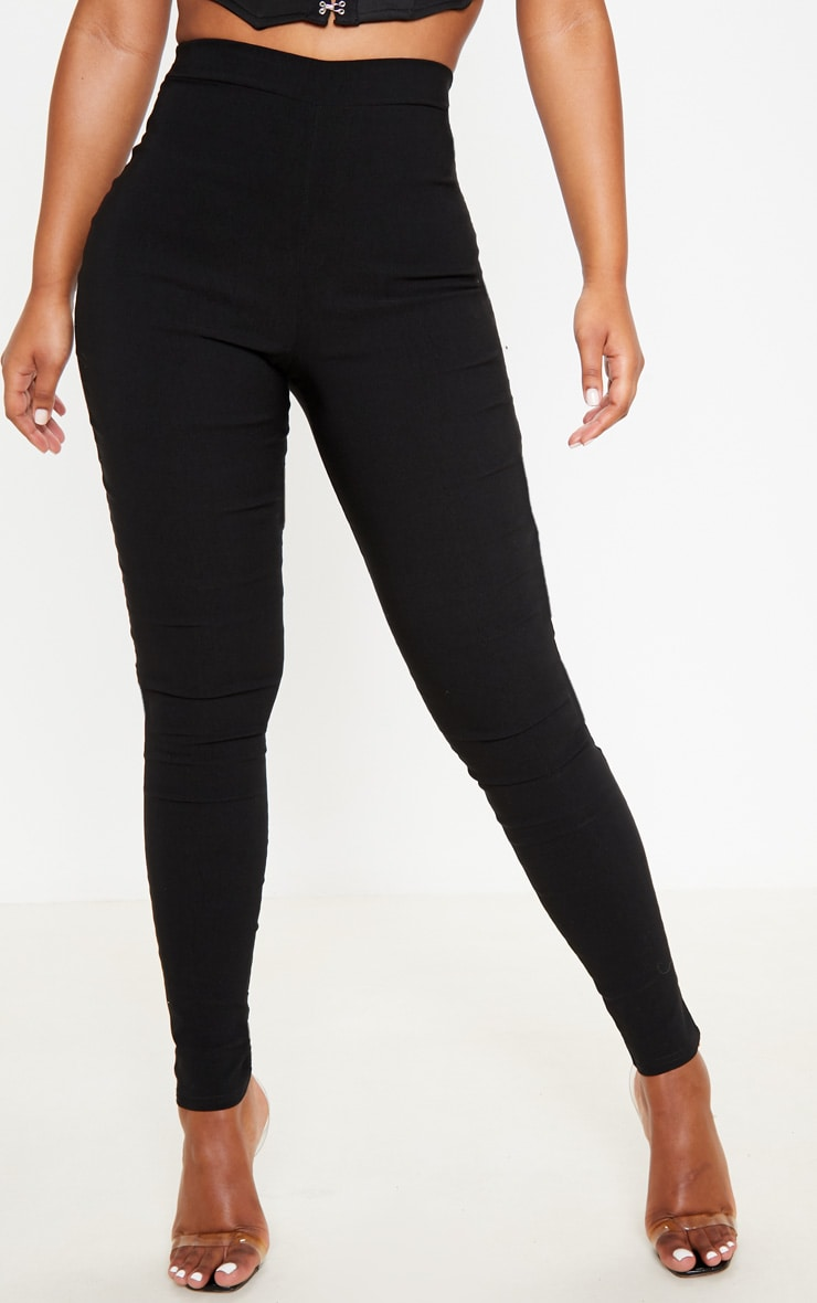 Black High Waisted Woven Stretch Legging 2