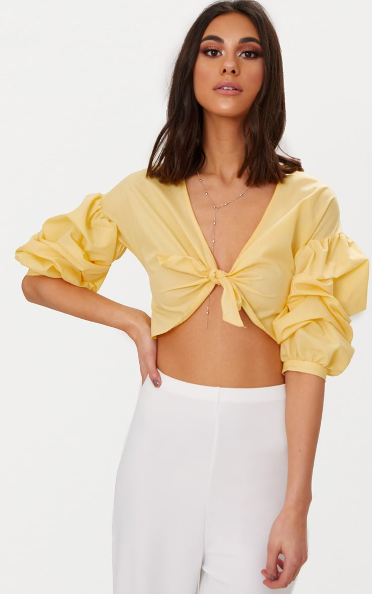 Yellow Woven Knot Front Puff Sleeve Crop Top  1