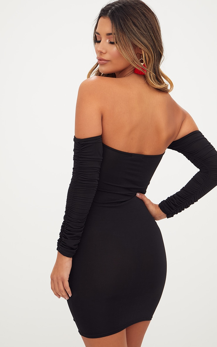 Black Ruched Front Ruched Arm Bardot Bodycon Dress 2