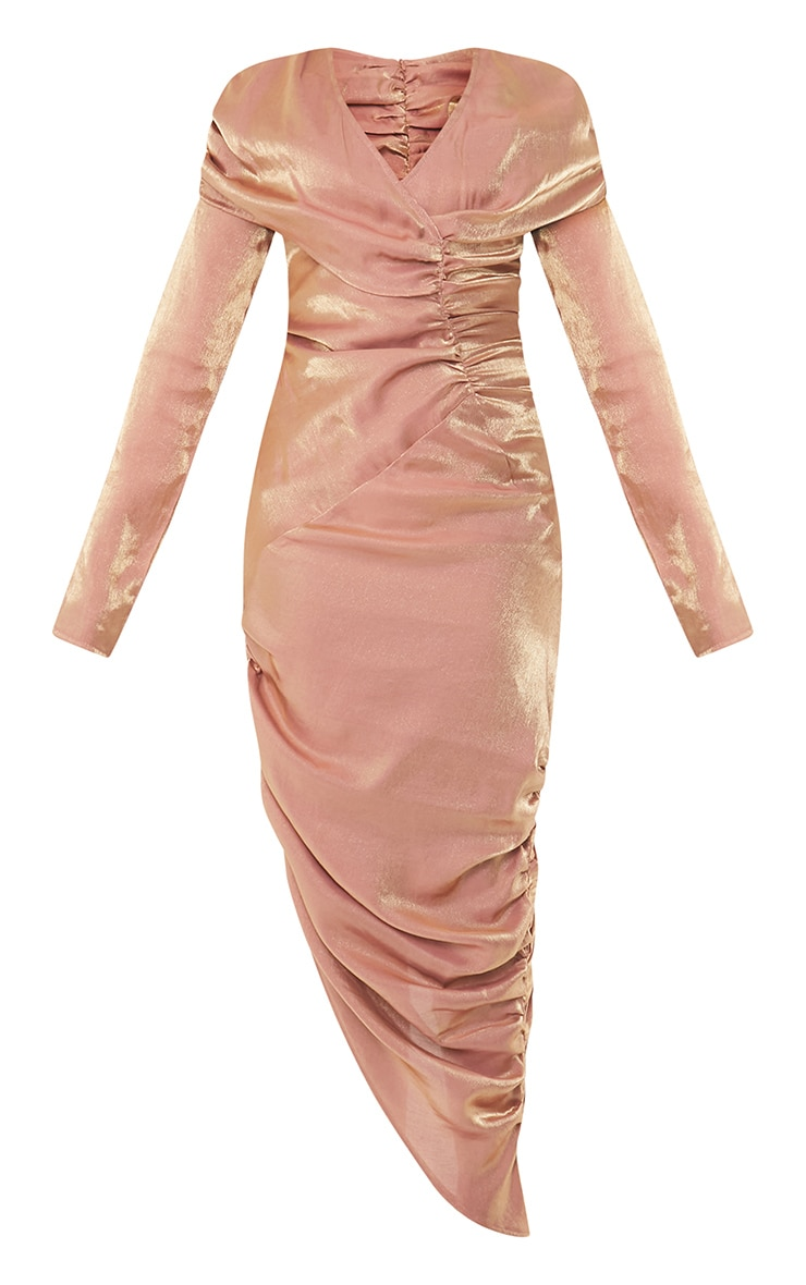 Bronze Metallic Ruched Wrap Midaxi Dress 5
