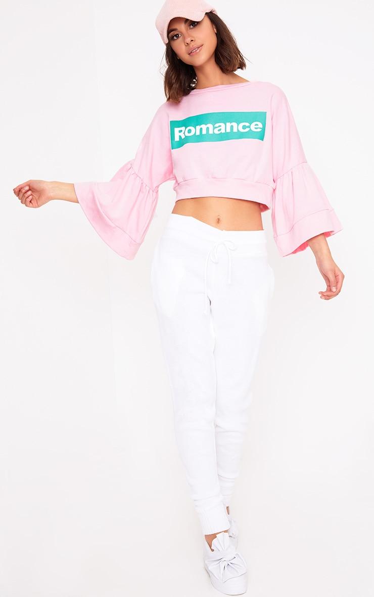 Baby Pink Romance Slogan Balloon Sleeve Cropped Sweater  4