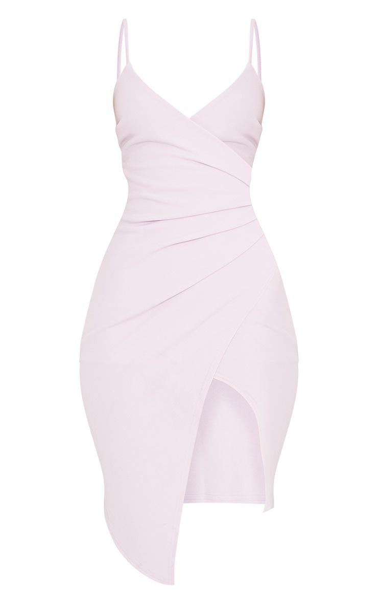 Lauriell Mauve Wrap Front Crepe Midi Dress 3