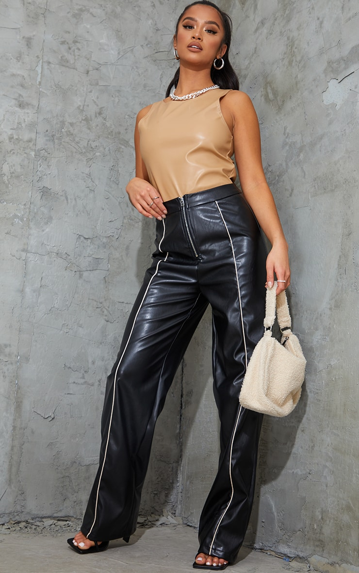 Petite Black Faux Leather Piping Detail Straight Leg Trousers 1