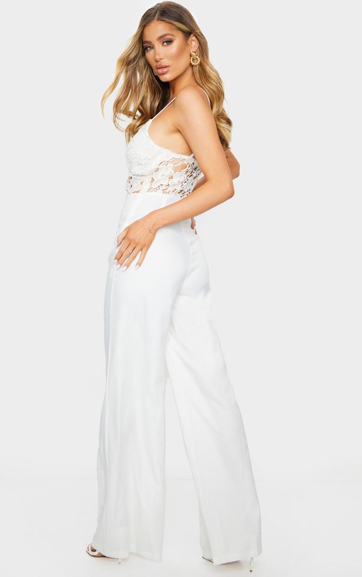 Cream Strappy Lace Cut Out Wide Leg Jumpsuit 2