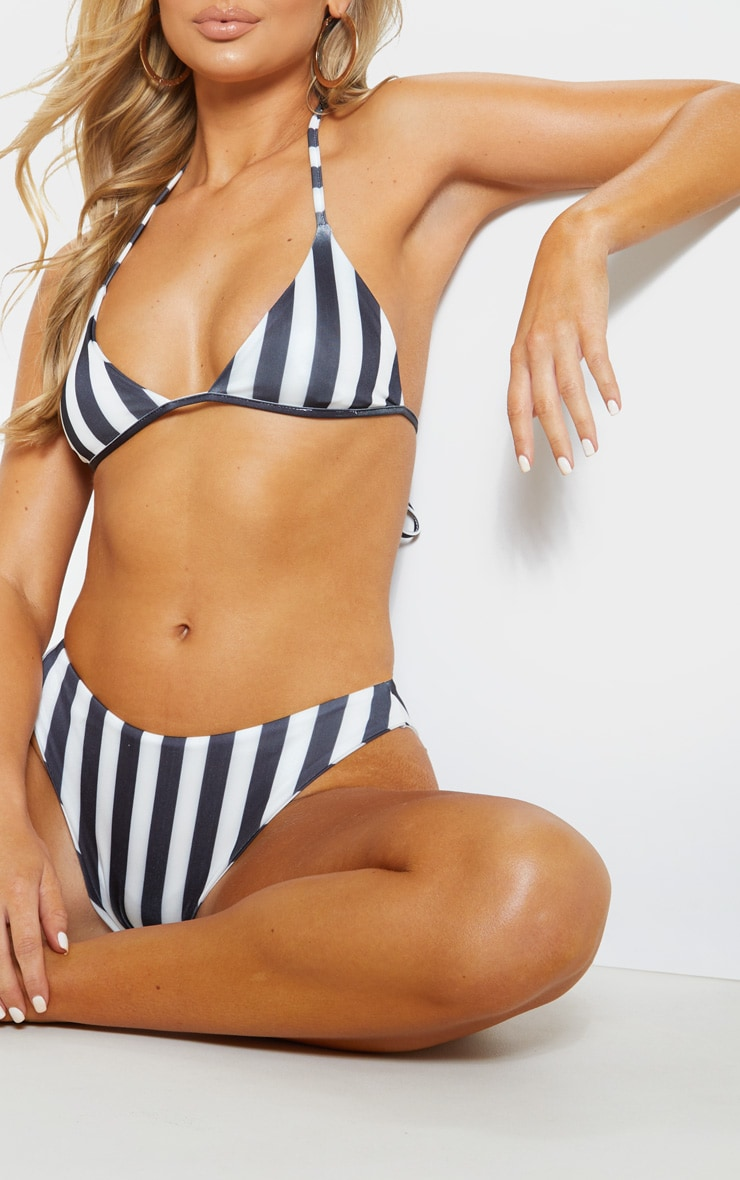 Black And White High Leg Full Coverage Bikini Bottom 6