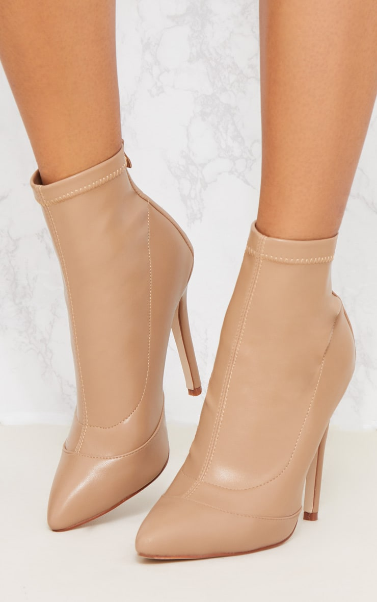 Warm Beige PU Pointed Ankle Sock Boot 4
